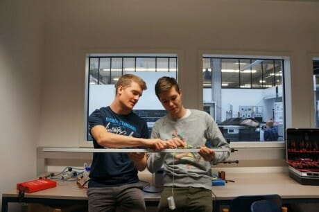 Patrick and Alexander working on their lighting tubes in the RUNWAY Startup Incubator in Winterthur